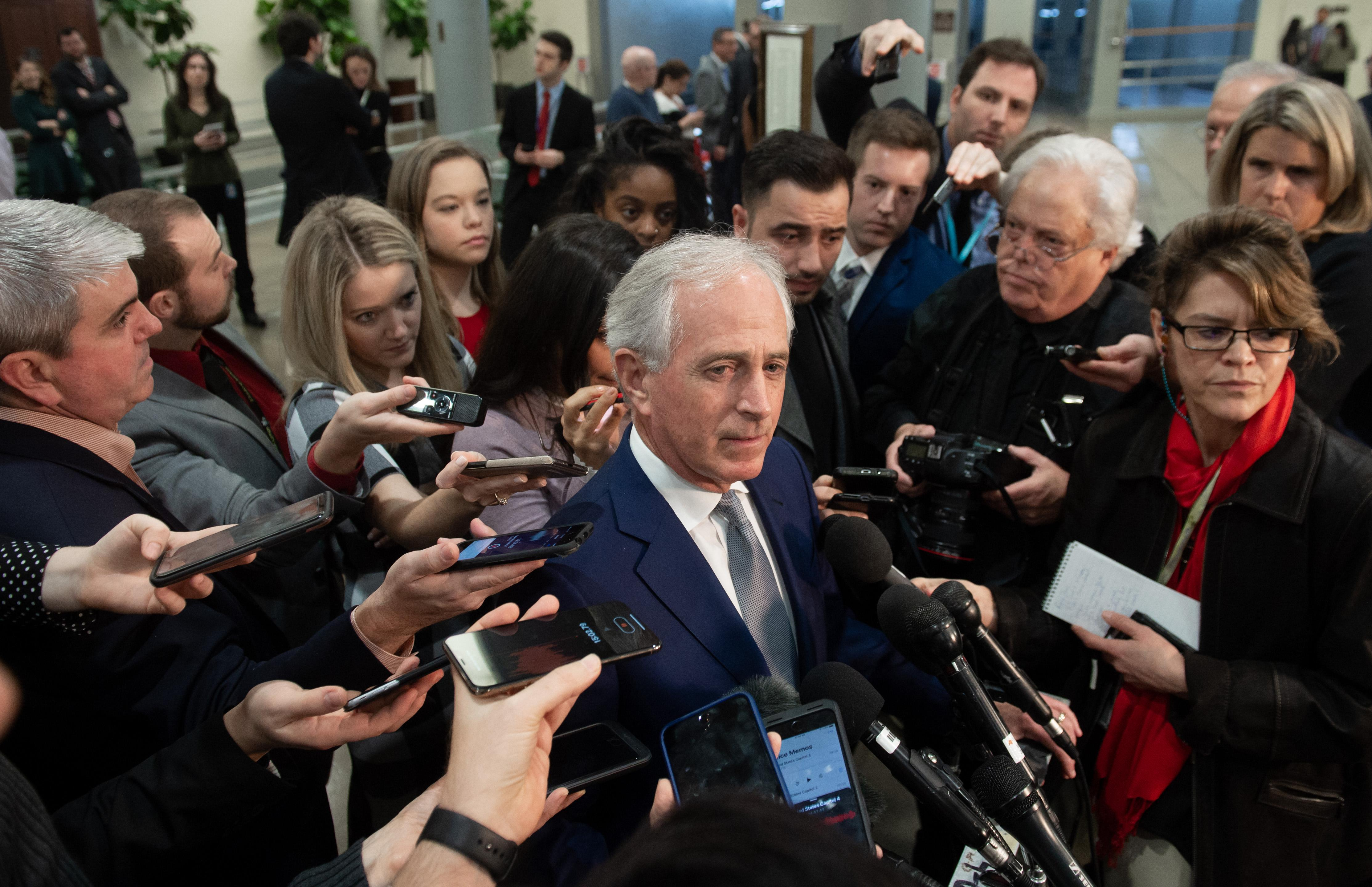 Sen. Bob Corker speaks to reporters on Capitol Hill early this month.