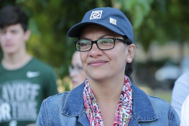 "Democratic Representative for Michigan's 13th congressional district Rashida Tlaib attends ""Shabatt in the Park with Rashida"" event on August 16, 2019 in Pallister Park in Detroit, Michigan."