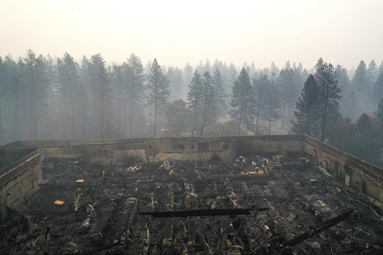 An aerial view of a shopping center destroyed by the Camp Fire