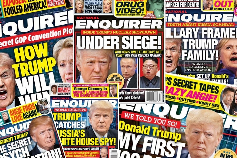 Photo illustration of several Trump-focused National Enquirer covers.