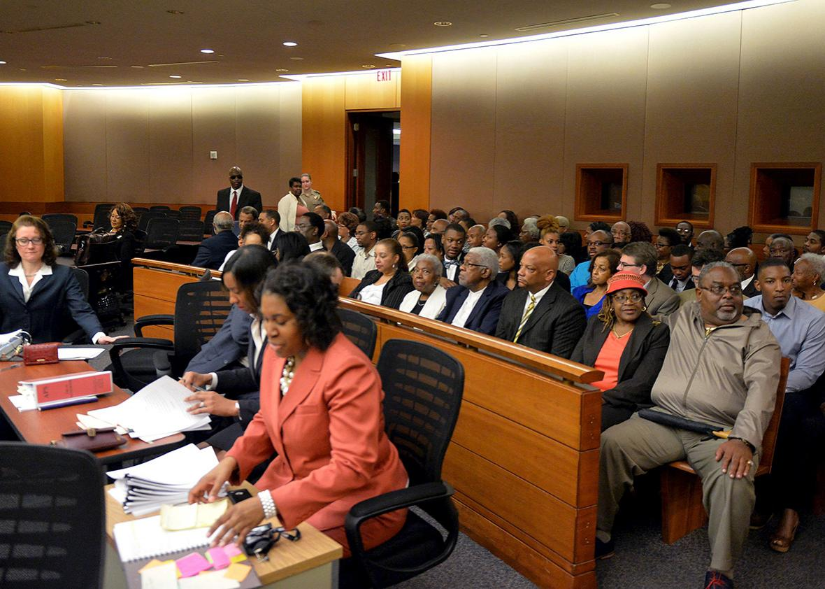 Former Atlanta public school educators filled the courtroom in April during the sentencing of 10 former educators convicted of racketeering.