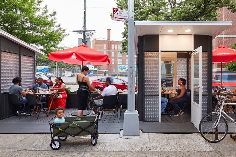 The sidewalk shed at Peaches Kitchen and Bar in the Bedford-Stuyvesant neighborhood of Brooklyn.