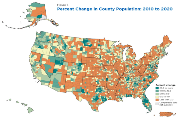 Map of America with counties of population decline colored orange mostly in the middle of the country