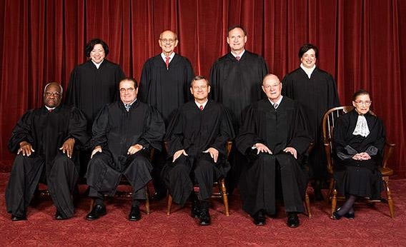 The current justices of the US Supreme Court.