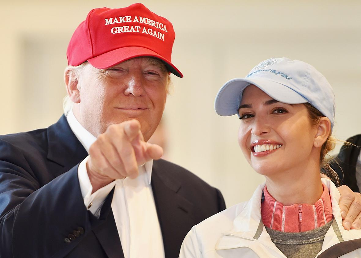 Republican Presidential Candidate Donald Trump visits his Scottish golf course Turnberry with his daughter Ivanka Trump July 30, 2015 in Ayr, Scotland.