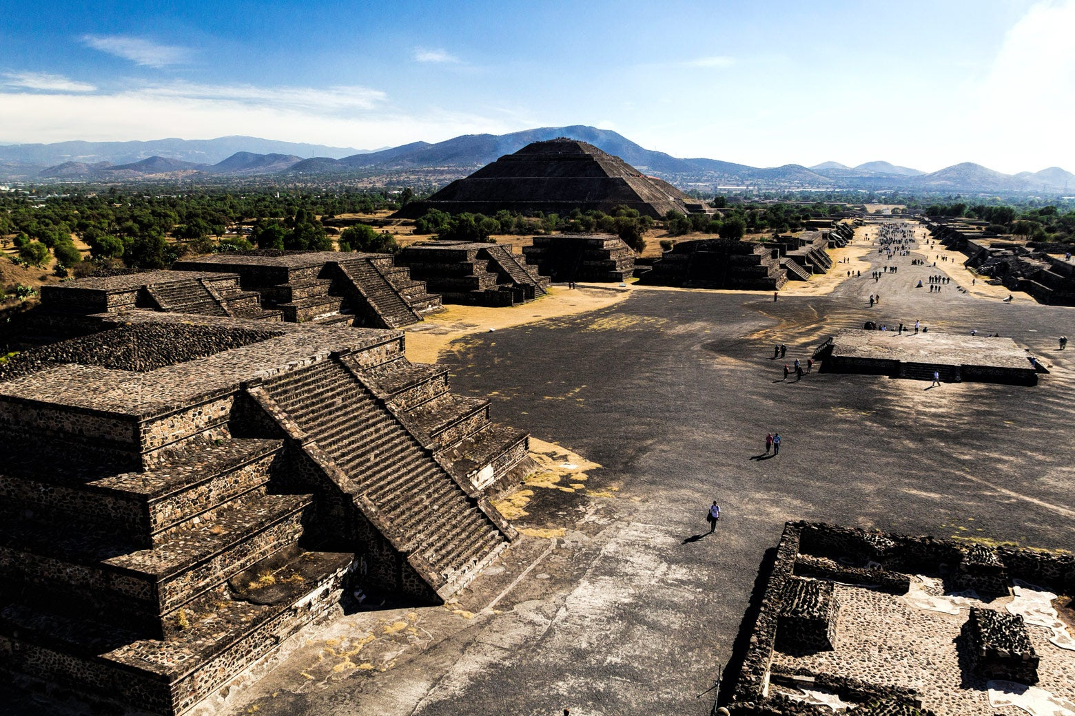 View from the Moon Pyramid to the Road of the Dead in the ancient Teotihuacán Pyramids in Mexico.