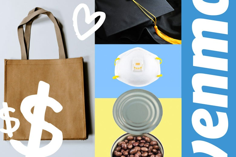 A collage depicting a tote bag, a graduation cap, an N95 mask, a can of beans and the Venmo logo.