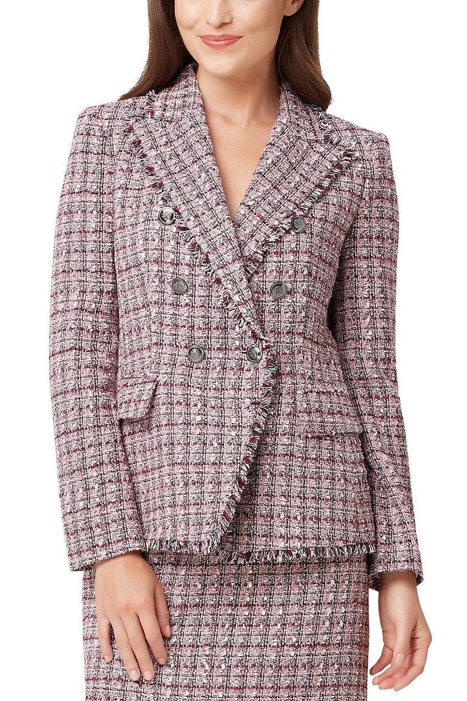 Tahari ASL Fringed-Trim Tweed Double-Breasted Jacket