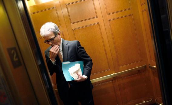 Sen. Tom Coburn, R-Okla., boards an elevator at the U.S. Capitol in Washington, Dec. 31, 2012.