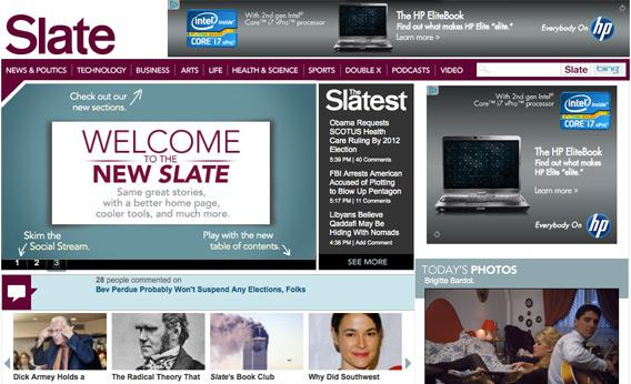 new Slate homepage screenshot