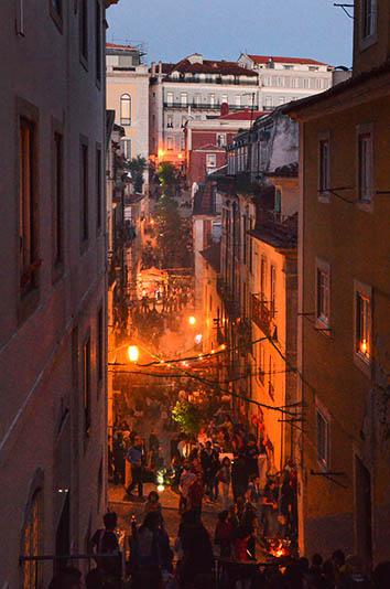 The party swings into high gear as the sun goes down, Lisbon, Ju