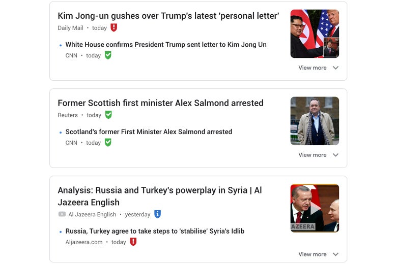 Links to news outlets in a browser with the NewsGuard extension