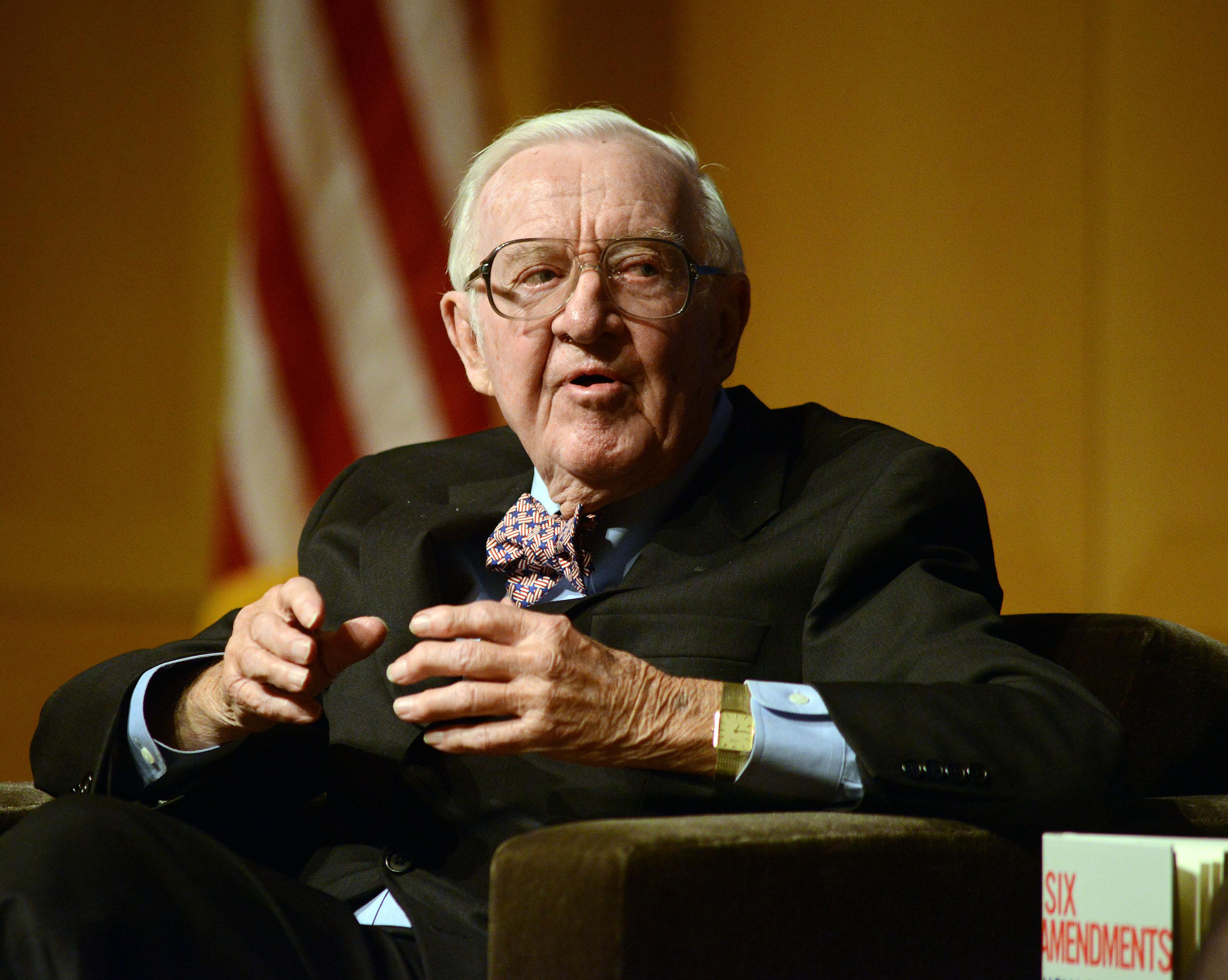PHILADELPHIA, PA - APRIL 28: Retired Supreme Court Justice John Paul Stevens answers a question posed by Brooke Gladstone (not shown), Host and Managing Editor of National Public Radio newsmagazine at the National Constitution Center April 28 2014 in Philadelphia, Pennsylvania.  Stevens discussed his new book, Six Amendments: How and Why We Should Change the Constitution. (Photo by William Thomas Cain/Getty Images)