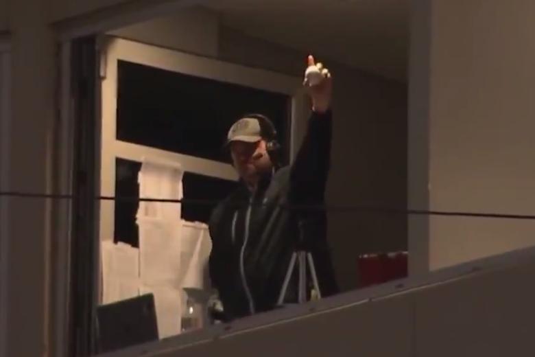Texas Tech radio announcer Geoff Haxton makes a barehanded catch.