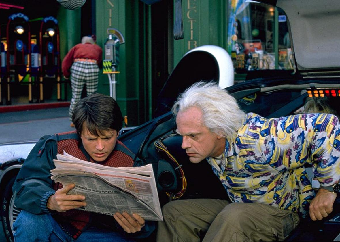 Michael J. Fox and Christopher Lloyd in Back to the Future Part