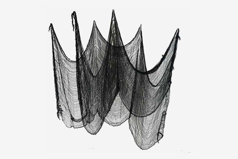 Gardeningwill Set of 2 Hanging Tattered Black Spiderweb Gauze Cloths