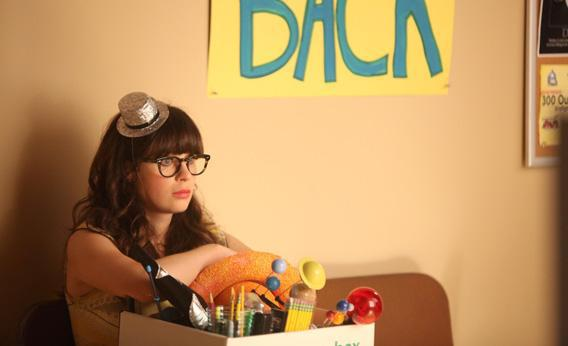 Jess (Zooey Deschanel) is laid off from her teaching job in The New Girl.