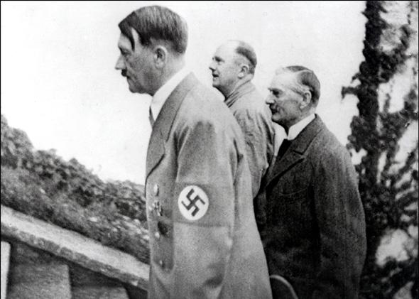 Undated archive of Adolf Hitler with British Prime minister Neville Chamberlain.