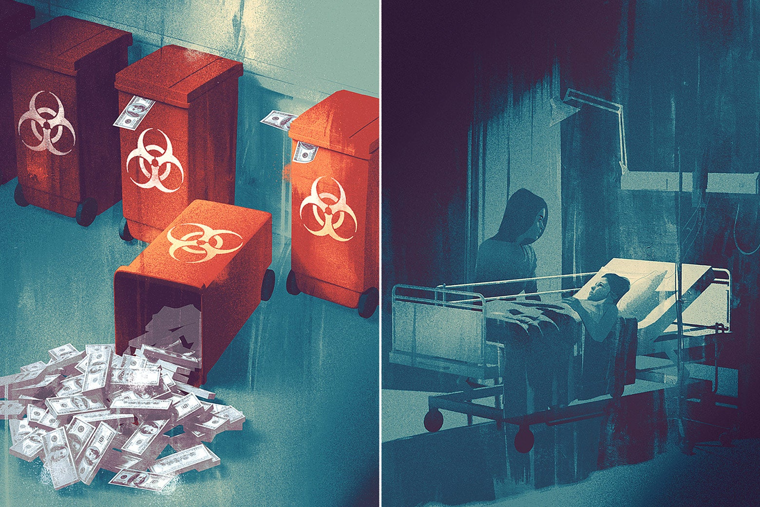 Diptych of a hazardous waste can with money falling out of it and a child on a hospital bed.