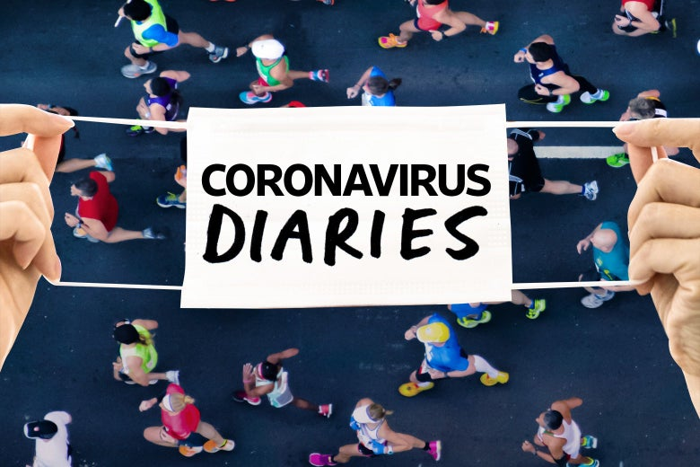 """A face mask that says """"Coronavirus Diaries"""" is held between two hands over an image of people running a race."""