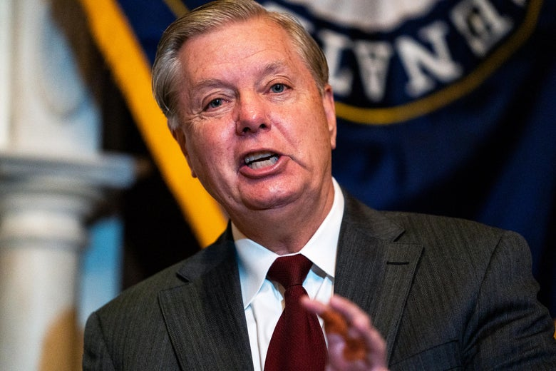 Lindsey Graham snarls while speaking.