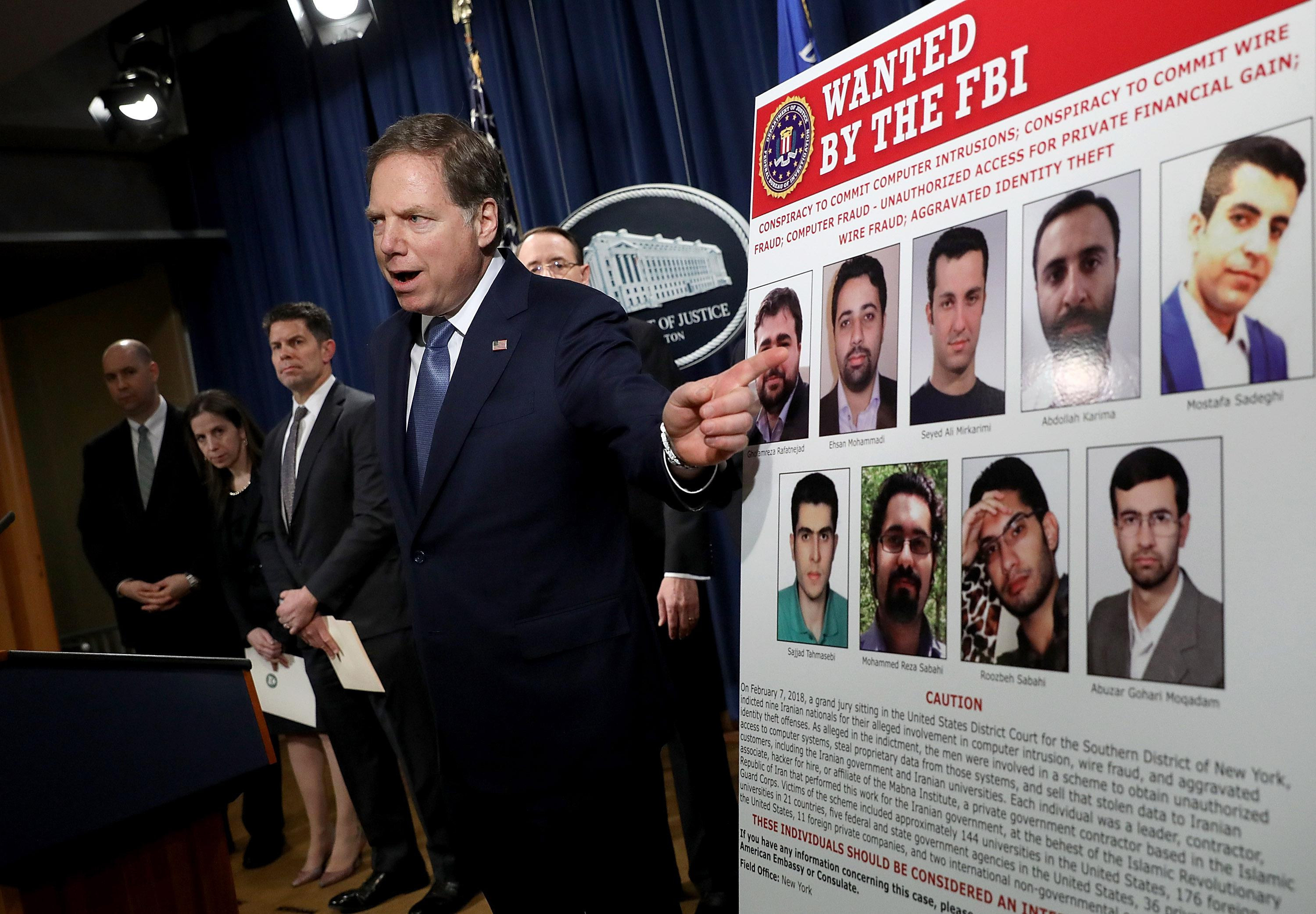 U.S. Attorney for the Southern District of New York Geoffrey Berman speaks at a press conference announcing a major cyber law enforcement action against nine Iranians.