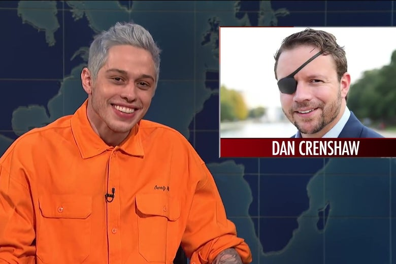 Pete Davidson sits in front of a photo of congressional candidate Dan Crenshaw, who wears an eyepatch because of injuries sustained while serving in Afghanistan.