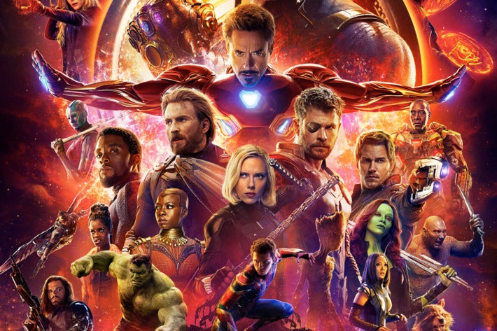 The superhero stars of Marvel's Avengers: Infinity war, including the original Avengers, Black Panther, The cast of Guardians of the Galaxy, and Spider-Man.