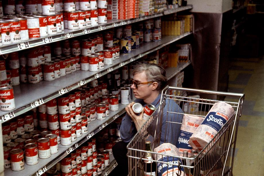 New York City. Andy Warhol in Gristedes supermarket near his 47th street Silver Factory. 1965.