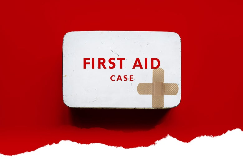 A first-aid kit with crossed Band-Aids