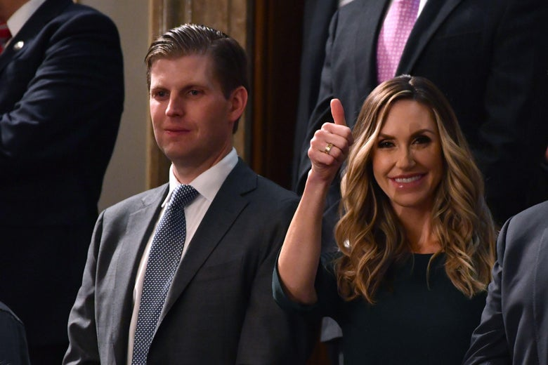 Eric and Lara Trump arriving for the State of the Union address on Jan. 30. She is giving a thumbs-up sign.