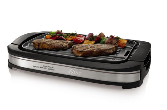 Oster DuraCeramic reversible grill and griddle.