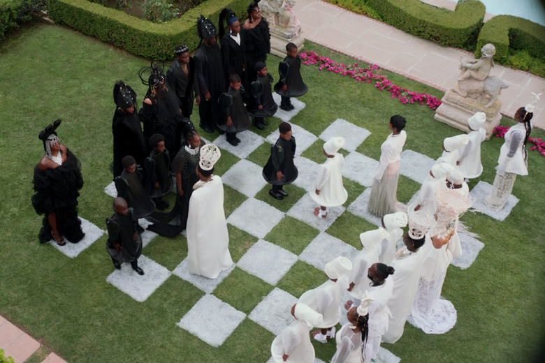 Overhead view of a human chessboard