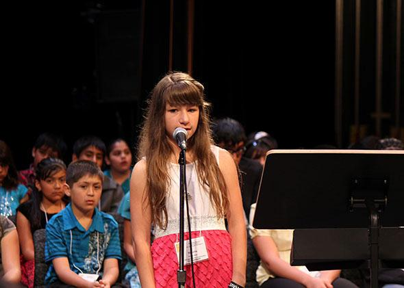 A New Mexico student at the state Spanish Spelling Bee in April 2011.