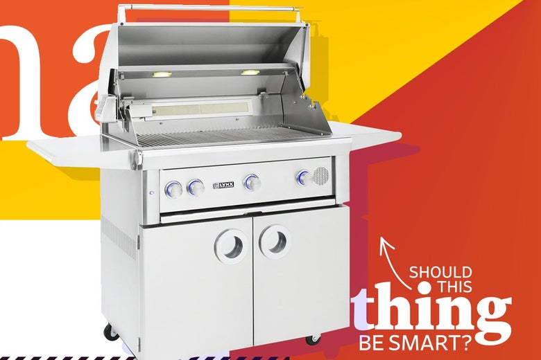 "Lynx SmartGrill with ""Should This Thing Be Smart?"" logo."