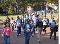 Students stream across Polk Place, better known as the Quad. Click image to expand.