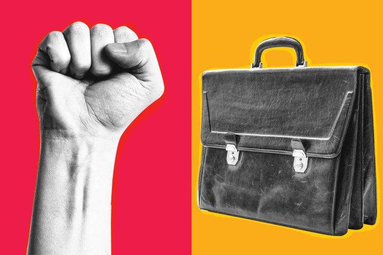 A fist thrust into the air on the left. A briefcase on the right.