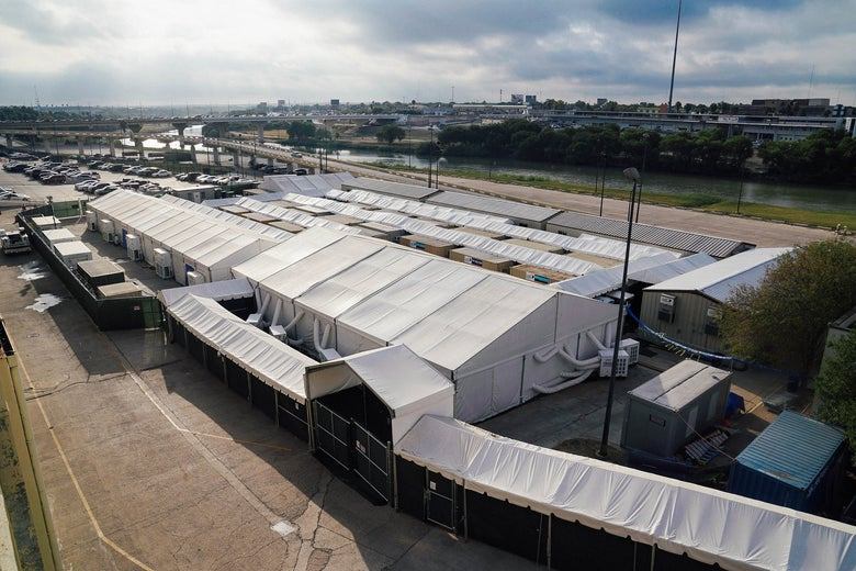 Soft-sided immigration court tents in Laredo, Texas, on Oct. 9.