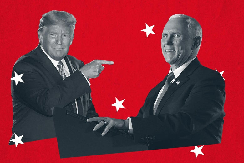 Donald Trump pointing at Mike Pence, seen against a red background and surrounded by white stars