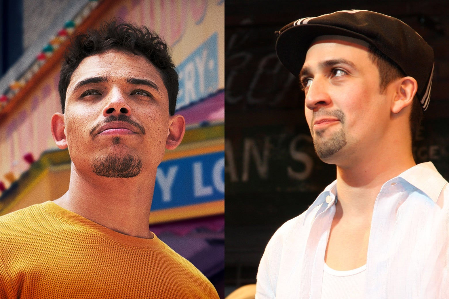 Ramos looks skyward in an orange shirt and curly hair. Miranda wears a smirk, a cap, and a slightly more traditional goatee.