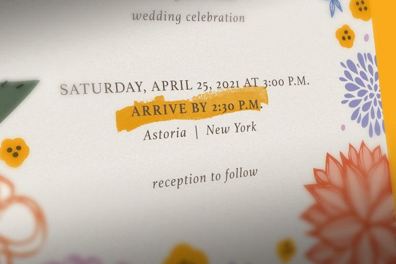 A wedding invitation with an arrive-by time highlighted