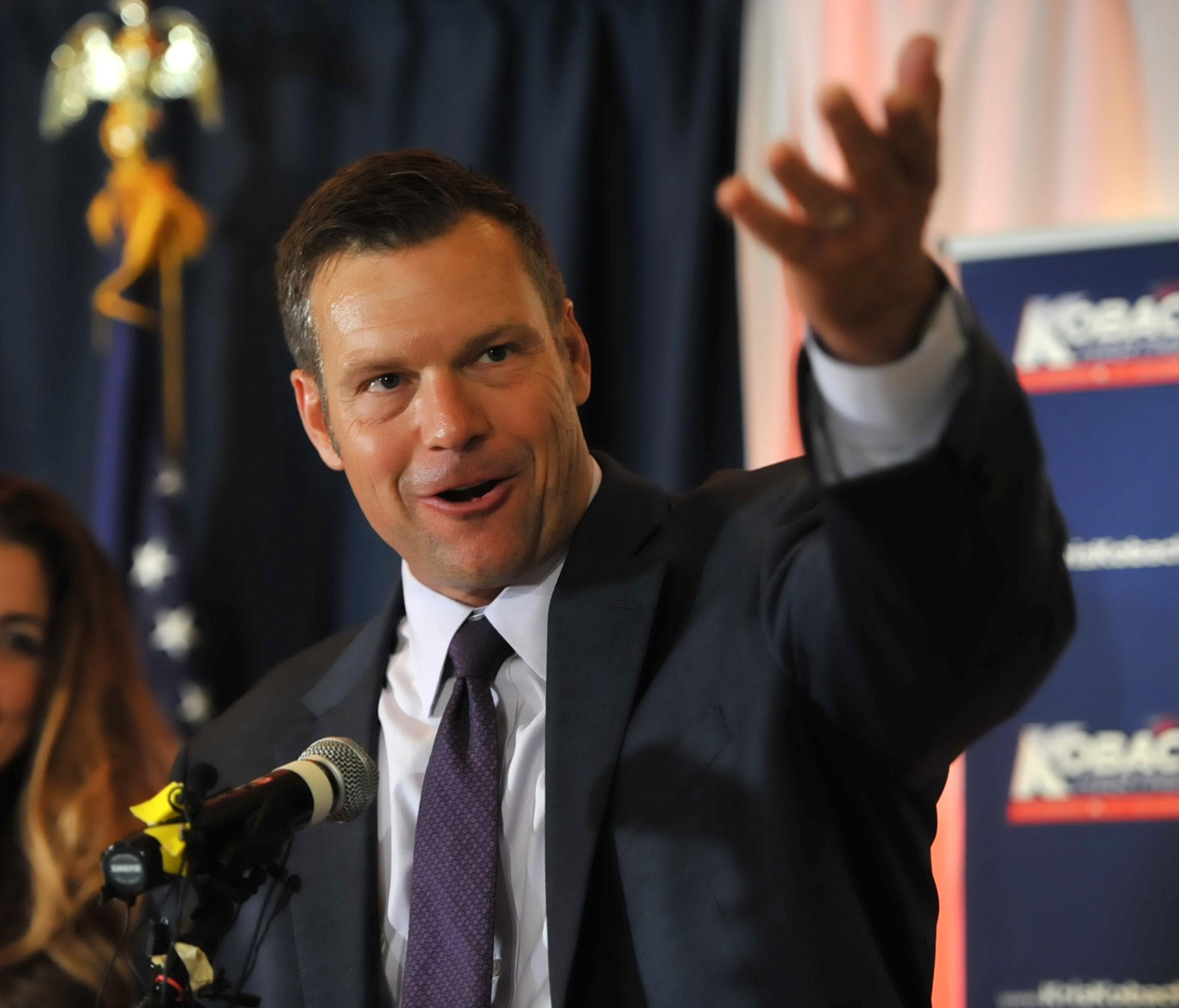 Republican primary candidate for Governor Kris Kobach speaks to supporters on election night in Topeka, Kansas.