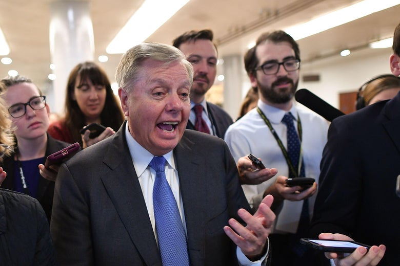 Sen. Lindsey Graham speaks to the media as he leaves after voting in the impeachment trial of the president on Capitol Hill January 31, 2020, in Washington, DC.