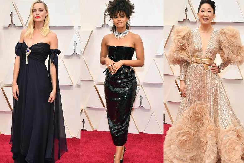 Collage of Margot Robbie, Zazie Beetz, and Sandra Oh on the red carpet at the Oscars.