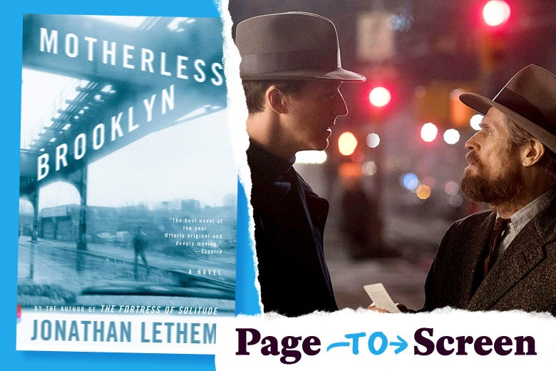 The book cover of Motherless Brooklyn, and a scene from its movie.