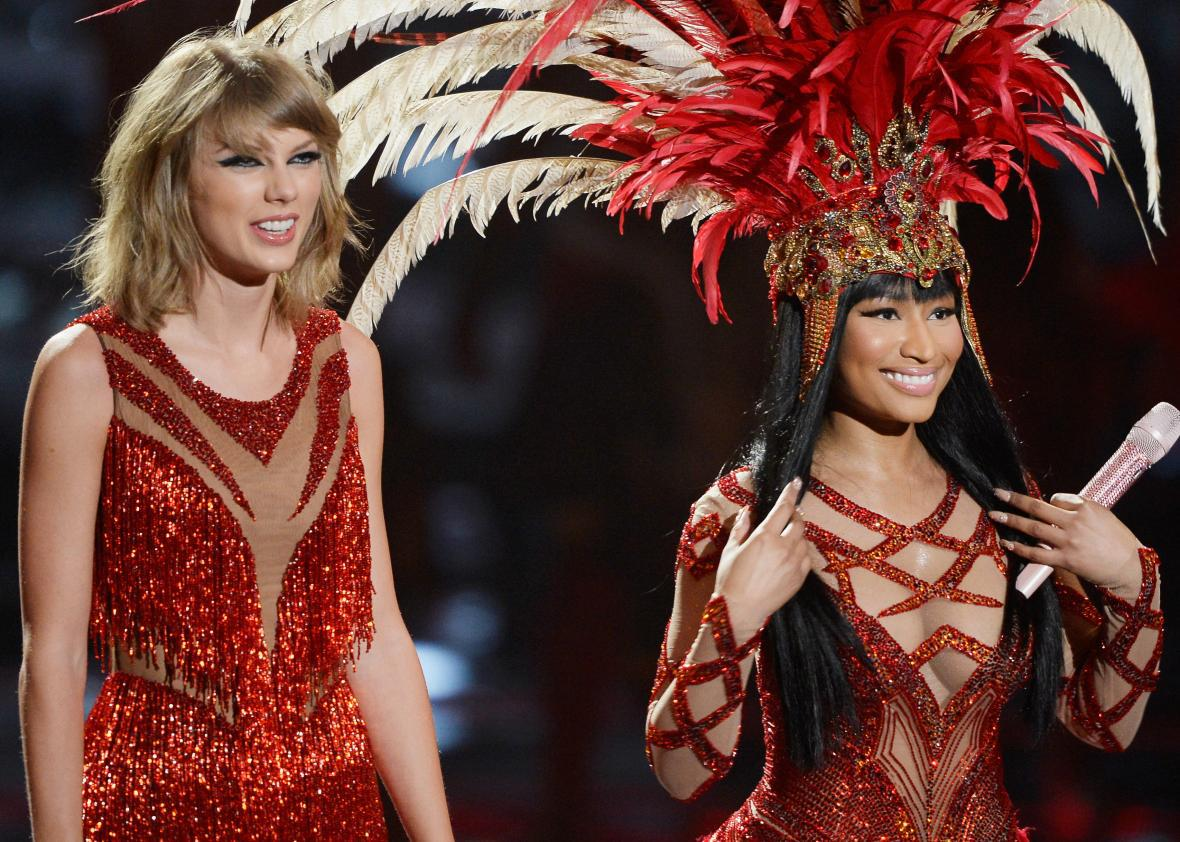 Taylor Swift and Nicki Minaj at the VMAs.