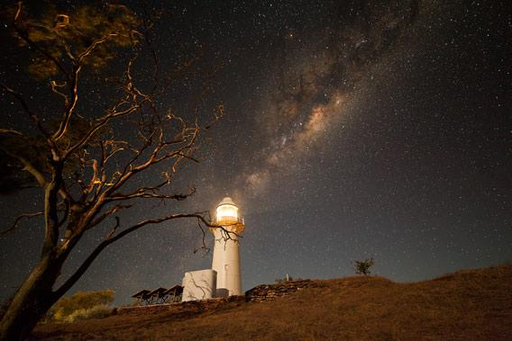 Milky Way and lighthouse, photo by Mike Selway