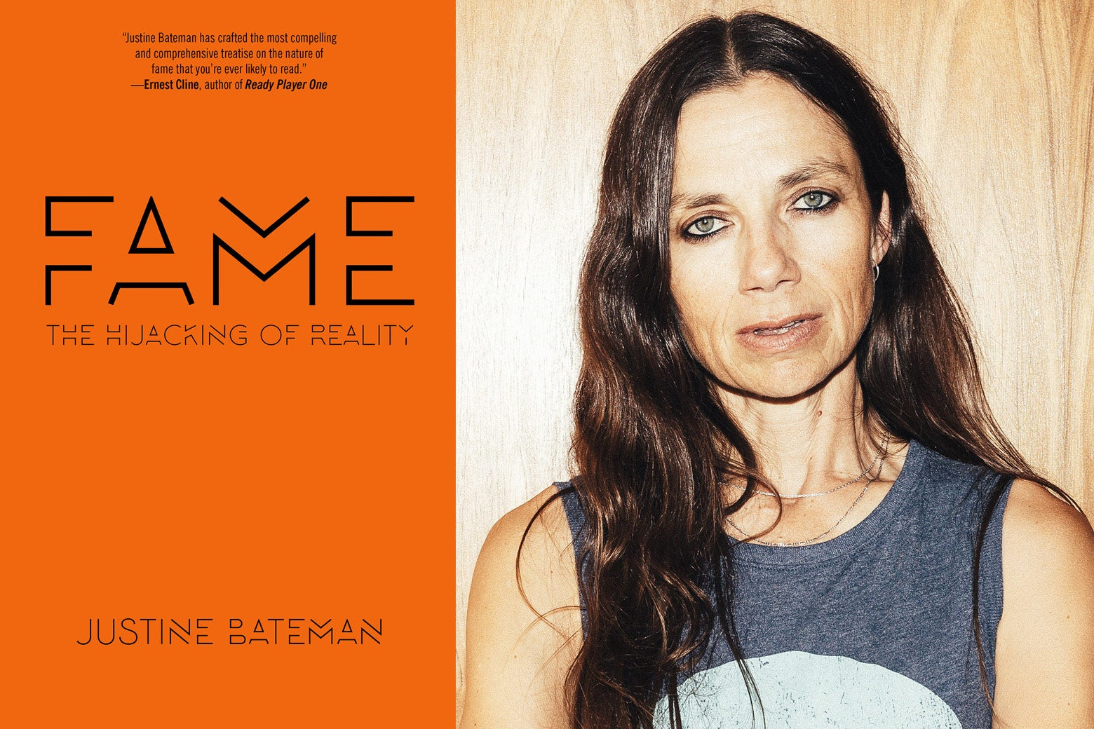 The cover of Fame: The Hijacking of Reality and a close-up of Justine Bateman, side by side.