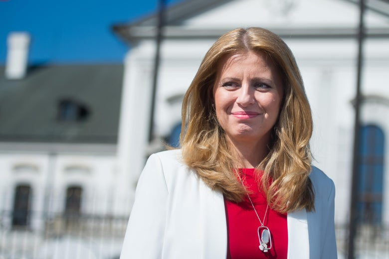 Newly elected Slovakia's President elect Zuzana Caputova speaks to a journalist in the front of the Presidential palace in Bratislava, Slovakia on March 31, 2019.