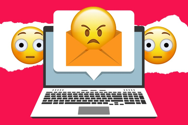 A laptop depicting embarrassed and angry emoticons.